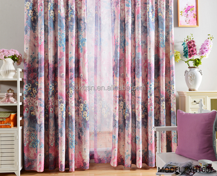 2018 New design purple printing pastoral style prints curtains