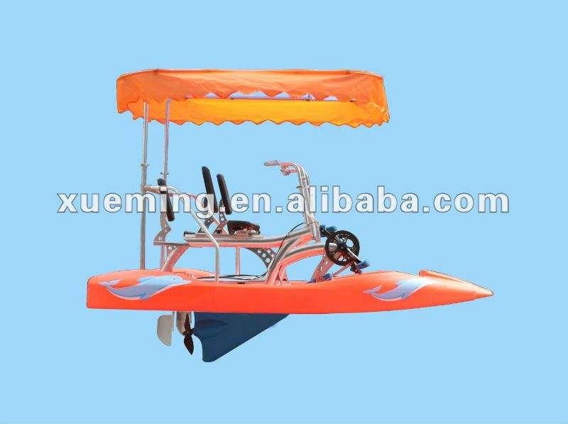 Triple seater boat pedals / pedal boats with awning