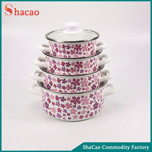 decal printed pink flower 8pcs cast iron enamel cookware set with glass lid