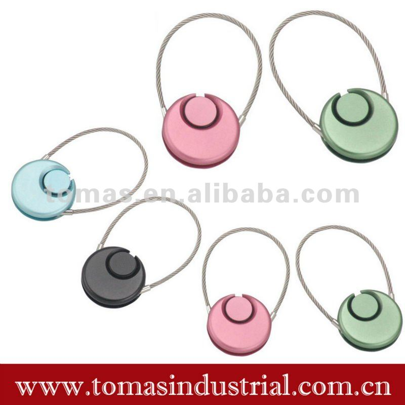 simple design button key ring with steel wire