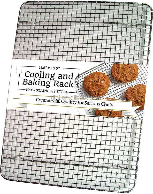 100% Stainless Steel Wire Cooling Rack for Baking fits Half Sheet Pans Cool Cookies, Cakes, Breads - Oven Safe for Cooking, Roas