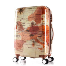 retractable rear Universal Wheel trolley Travel world map luggage abs carrier