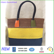 Wholesale simple hot sale foldable army stripe beach straw tote bags