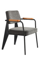 Replica European Graceful Design Multi-Use/Guest metal frame Jean Prouve Fauteuil Direction chair with Fabric cover seat
