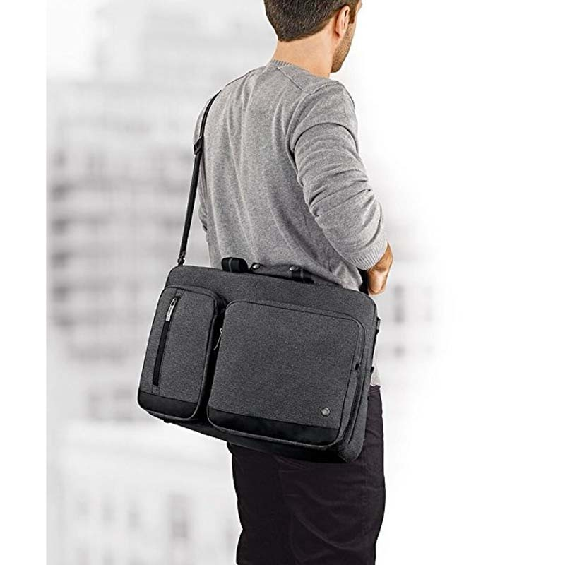 "Grey 15.6"" Laptop Hybrid Briefcase Backpack"