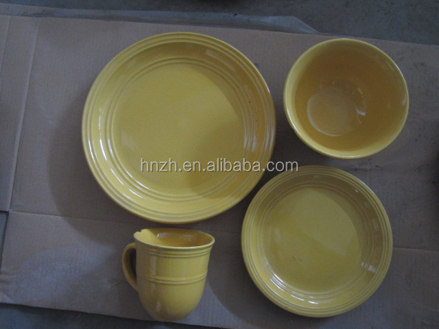 16pcs unique embossed design arts and crafts dinnerware
