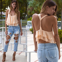 Ladies sexy chiffon backless halter tops