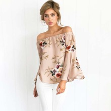 OEM&ODM Print Logo Shoulder Off Chiffon Sexy Women Tops Ladies blouse