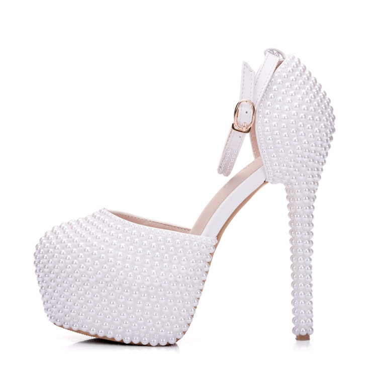 Full Imitation Pearls Extreme High Heels Sandals Women's Pumps Matching Handbag Sets