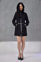 High Quality Women's Long Sleeve Wool Blend Coat Slim Trench Lady Black Fashion Coat Factory