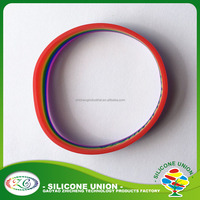 Fashion jewelry Custom logo Rinbow wristband with color filled advertising silicone bracelet