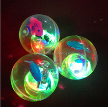 rubber colorful led flashing light bounce ball with blue fish
