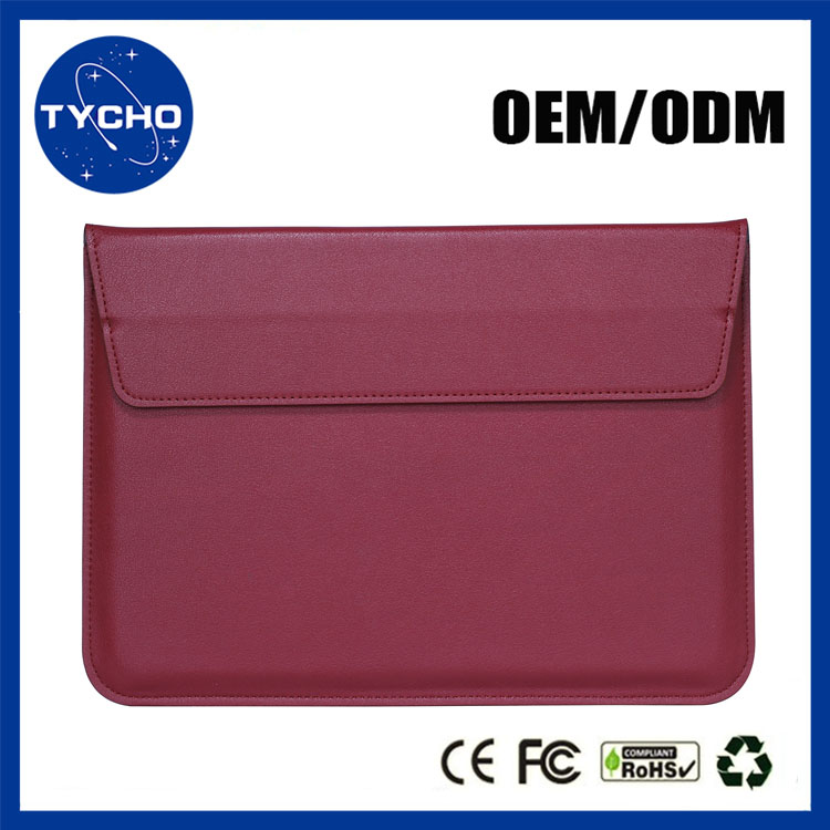 With Stand Function Thinner Sleeve Bag For Macbook Air 11 13 Pro Retina 13 15 PU Leather Sleeve Case