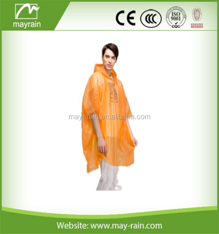 2017 Summer Mayrain Wholesale Adult PE Disposable Raincoat