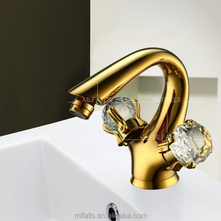 Single hole dual crystal handles brass Ti-PVD finish bidet faucet