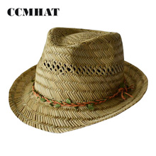 100% Grass Woven Female Straw Hat 2017 with Leaves Chain