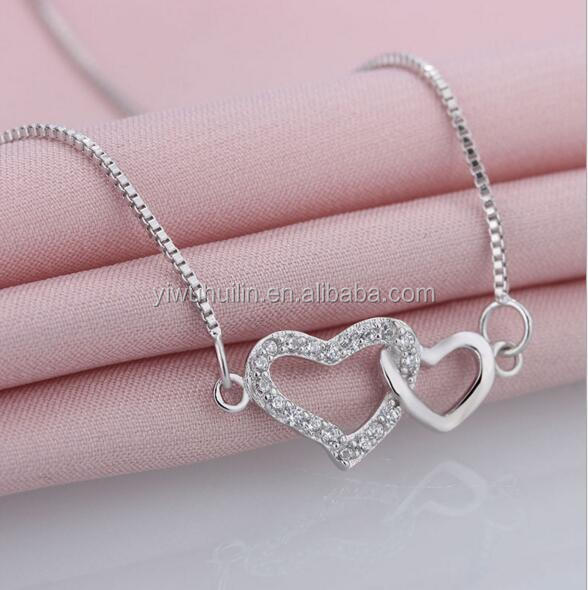 YFY114 Yiwu Huilin Jewelry New Products Crystal double heart women necklace