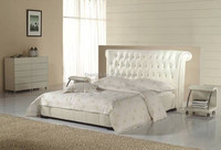 Gas Lift Up White PVC Leahter Bed for Small Bedroom