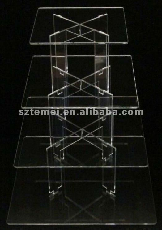 4 tier square clear acrylic cupcake stand
