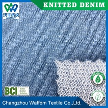 beautiful indigo dyed knit denim fabric for woman clothing
