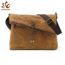High grade hardware accessories waterproof business men shoulder messenger bag canvas