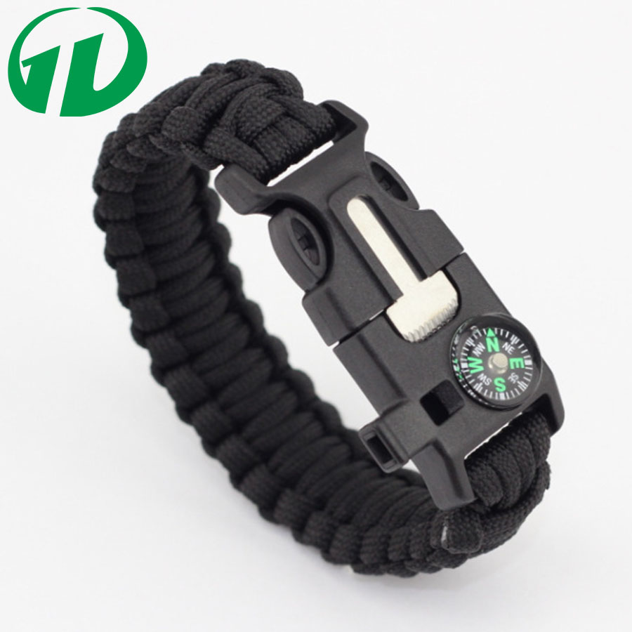 2016 wholesale custom color outdoor military survival 550 paracord bracelet with fire starter compass whistle