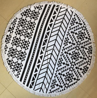 High Quality Customised Screen Printed 100% Cotton Circle Beach Towel Large Mandala Round Shape With Tassels