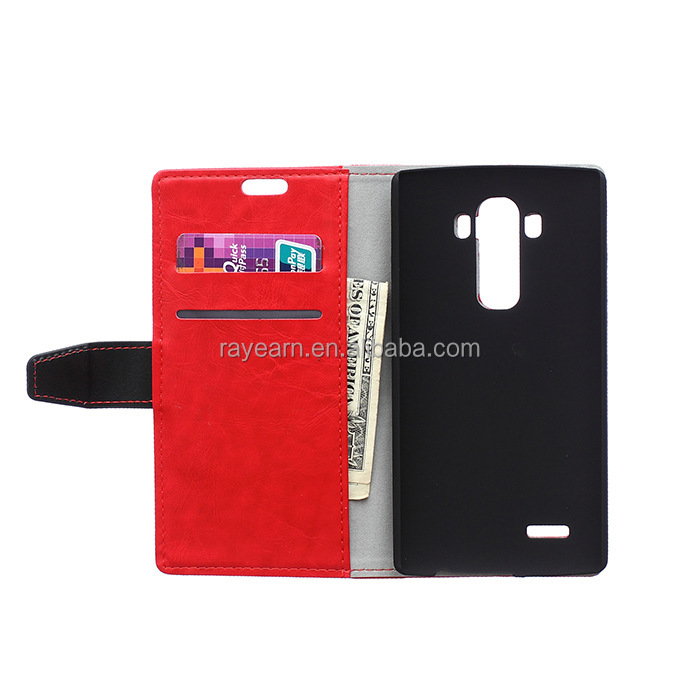 For LG g4 case, card slot with pu leather case for lg g4 with stand,solid color case for LG G4