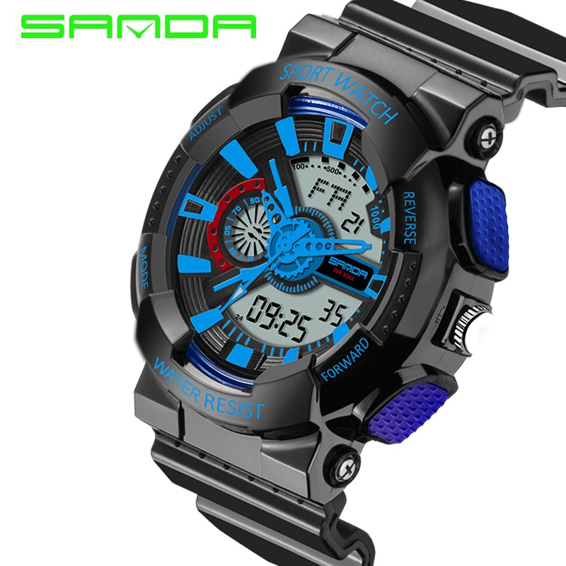 Mens watches 2017 SANDA Fashion watch men G style waterproof shock sport military 5 colors digital luxury analog led watch