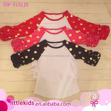 Toddler girls gold polka dot icing ruffle t shirts high quality solid girls top kids valentines raglan shirts