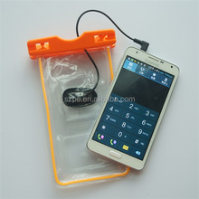Wholesale price orange pvc dry bag waterproof with headphone jack non-phthalate