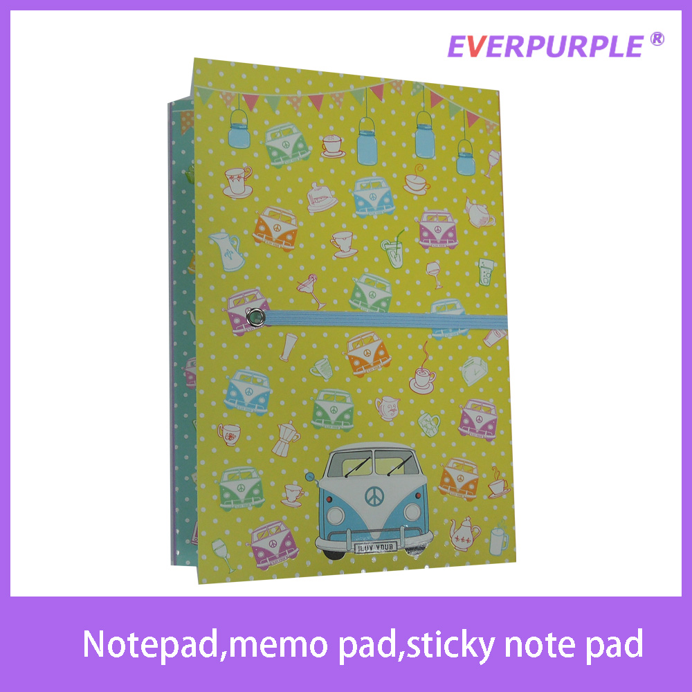 2016 high quality new design cute cover notepad,sticky note pad,memo pad with pen for school