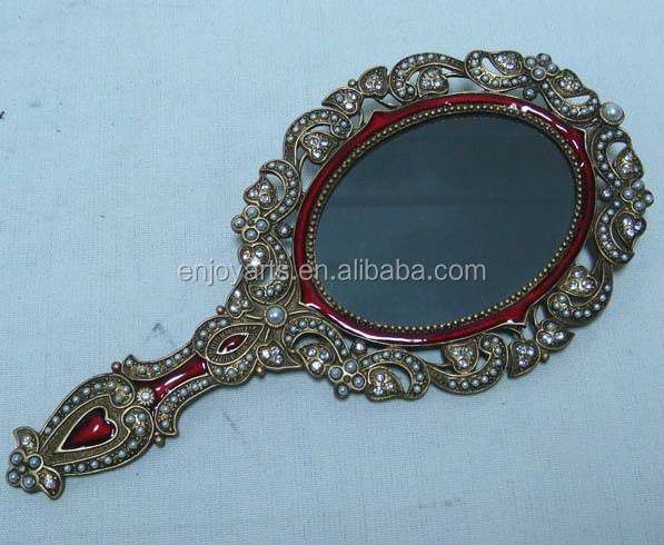 metal antique oval mirror hand mirror (P04008b)
