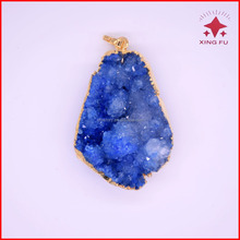 fall season!!single bail natural gemstone geode agate pendants with gold electroplated,druzy agate pendants