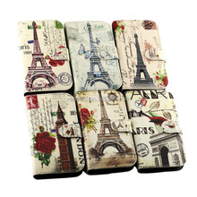 Eiffel Tower PU Stand Book Wallet Leather Case Cover For Samsung Galaxy Trend Lite S7392 S7390 Case