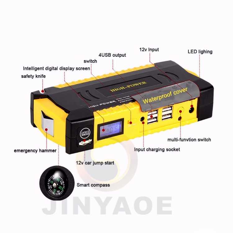 Car jump starter 5 in 1 multi-function emergency power bank portable battery car jump starter 12v with 4 usb ports