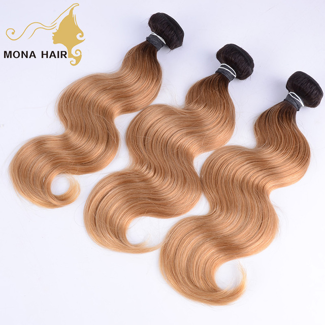 Supple and High Quality 1b/27 Body Wave blonde human hair natural peruvian hair weave