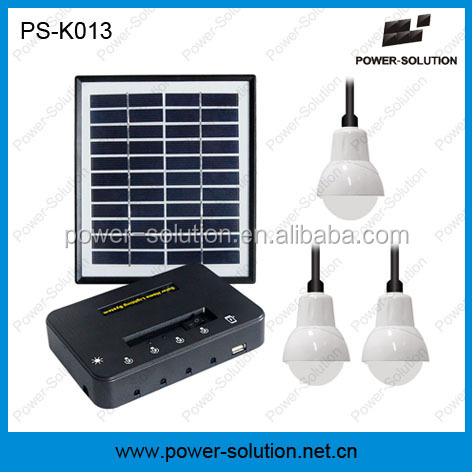 Mini solar black panel with 3bulbs for home lighting in off-grid areas