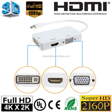3 in 1 Thunderbolt DisplayPort Mini DP to HDMI/DVI/VGA Display Port Cable Adapter for Apple MacBook Pro Air iMac Thinkpad