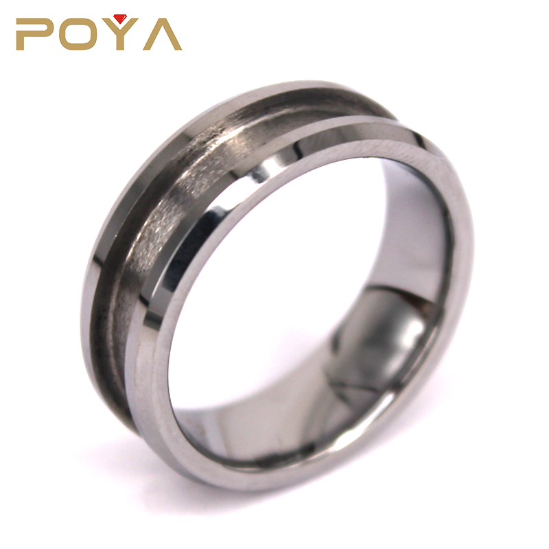 POYA Jewelry Wholesale 8mm Mens Blank Tungsten Carbide Wedding Ring For Inlay