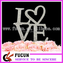 Wholesale fashion crystal diamond LOVE cake topper wedding party supplies/wedding centerpieces