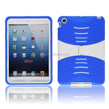 2014 new silicone and hard plastic cover case with kickstand for iPad Mini 2