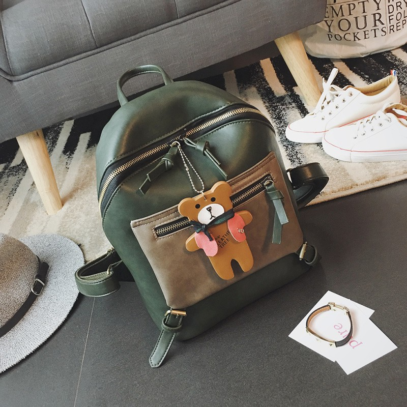 hot sale leather girls exquisite bear ornaments backpack