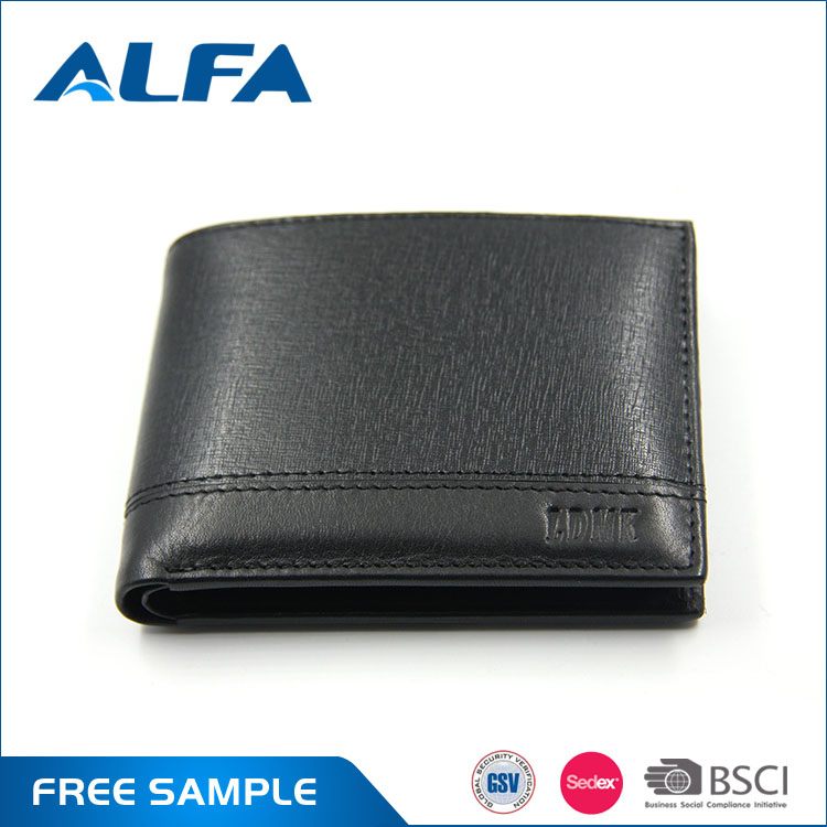 Alfa Cheap Custom Lable Printed Slim Fashion Trend Men Leather Wallets Purse