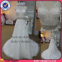 Famouse design Hot sales Alibaba heavy beaded belt and floor length sexy front slit wedding dresses