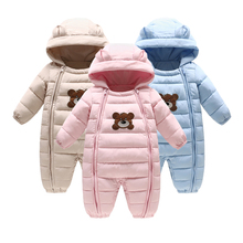 Thick warm Infant baby rompers Winter clothes Newborn Baby Boy Girl Romper Jumpsuit Hooded Kid Outerwear For 0-24M