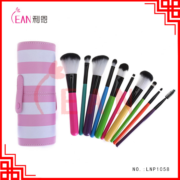 10pcs hot sale synthetic nylon hair makeup brushes set with cup holder, rainbow brush cosmetic brush set with tube