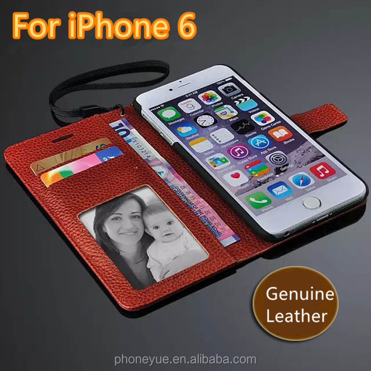 luxury magnetic genuine book leather flip mobile phone cover case for iphone6