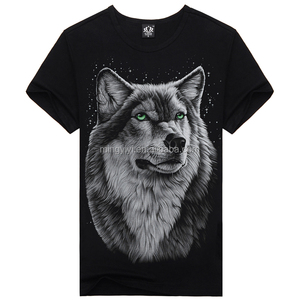 Men's wolf Cool wolf Printed summer Casual 3D Short Sleeve glow in the dark T-shirts