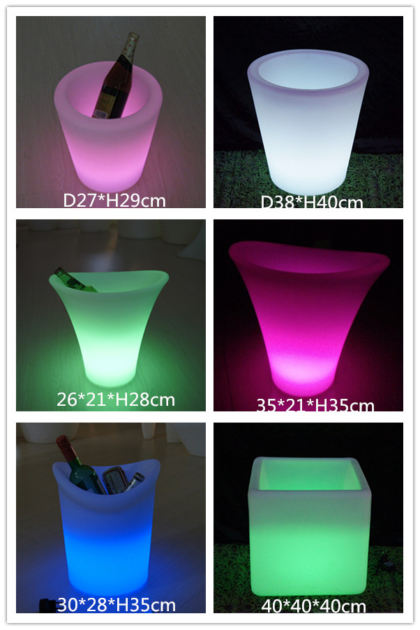 BSCI factory glowing champaign bucket cube coolers with remote control